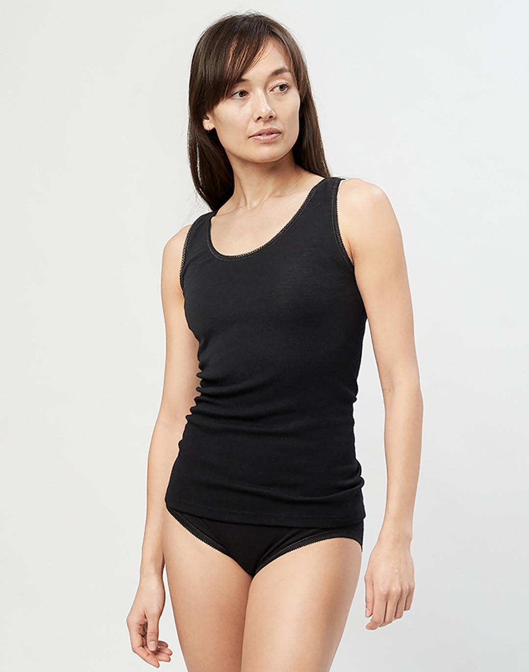 Women's merino wool tank top- black