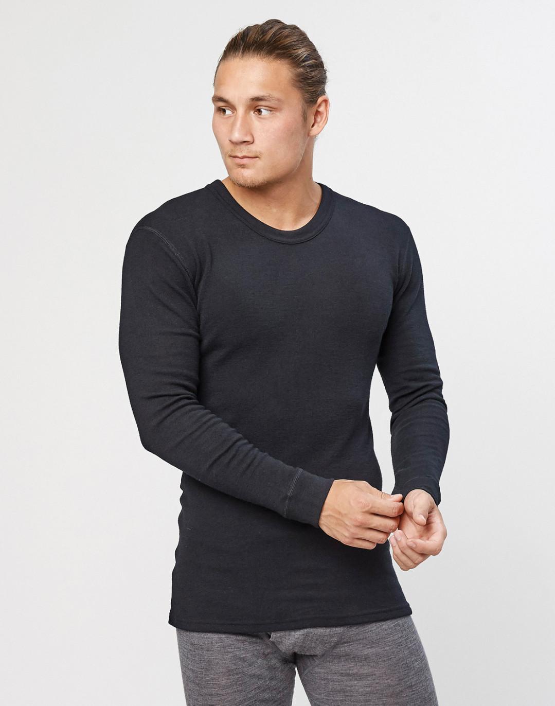 Men's long sleeve merino wool base layer- black