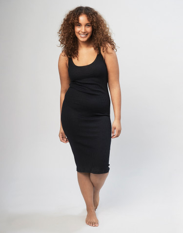 Women's strap rib nightdress- Black
