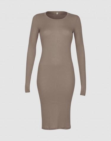 Women's long sleeve rib dress - Sand