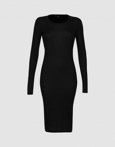 Women's long sleeve rib dress - Black