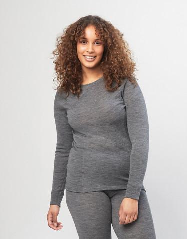 Women's high neck merino wool top - grey