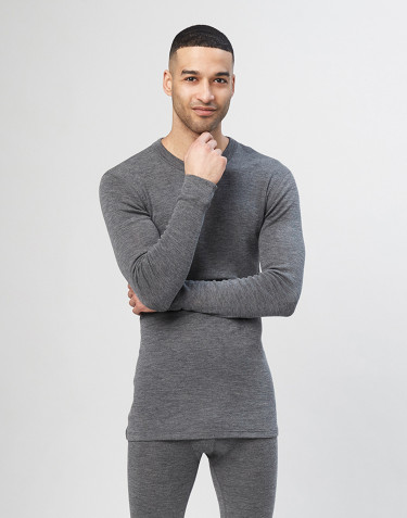 Men's long sleeve merino wool top - grey