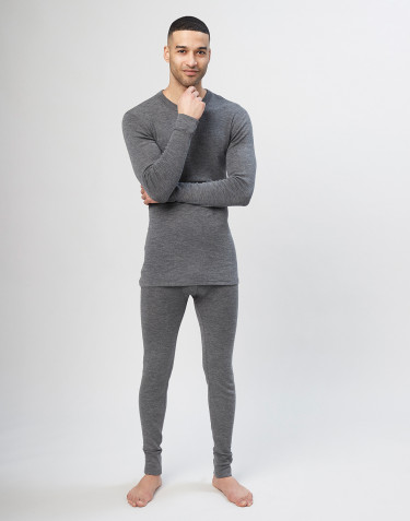 Men's merino wool long johns - grey