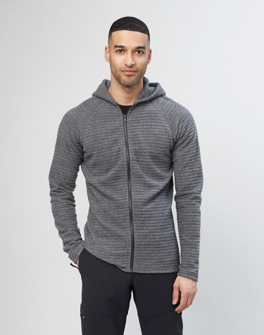 Men's bubble stripe wool fleece- Dark Grey Melange