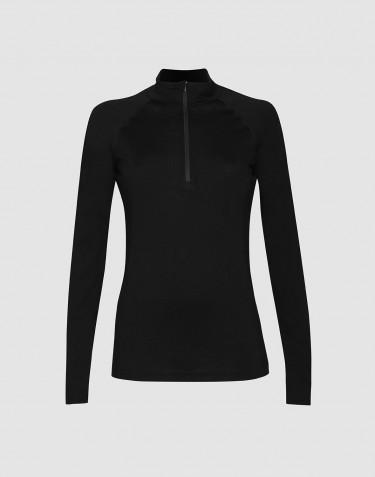 Women's exclusive organic merino wool top with zip- black
