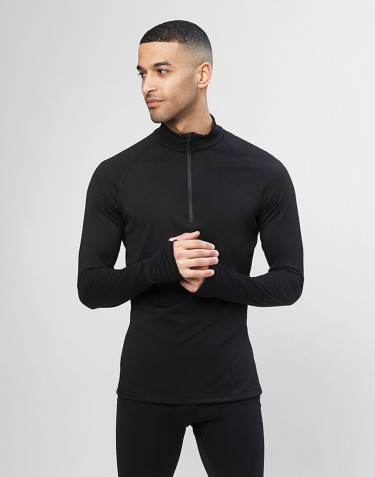 Men's long sleeve top with 1/3 zip - organic merino wool black