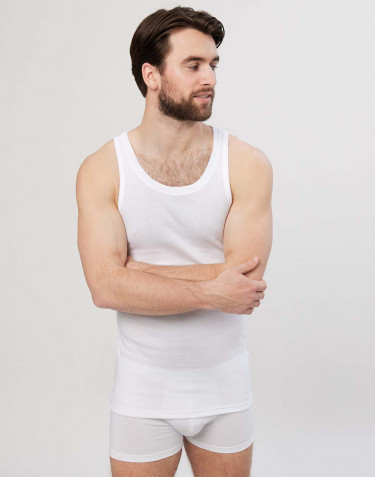 Men's premium classic cotton tank top- white