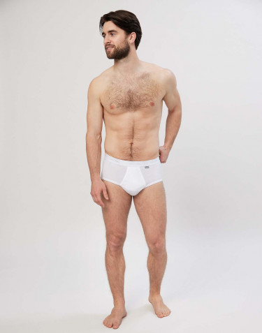 Men's premium classic cotton briefs with fly- white