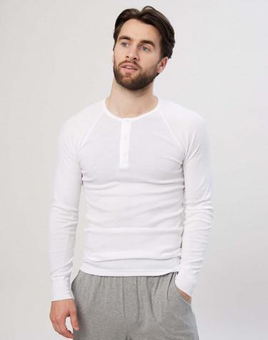 Men's premium classic cotton long sleeve top- white