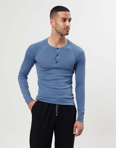 Men's premium classic cotton button neck top- blue