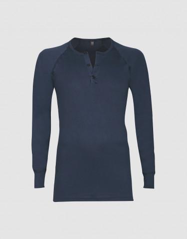 Men's premium classic cotton button neck top- dark blue