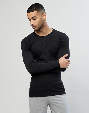 Men's premium classic cotton long sleeve top- black