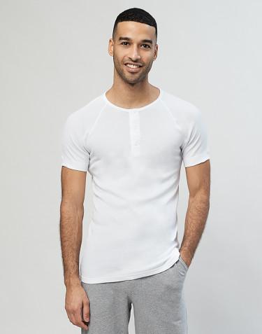 Men's premium classic button neck t-shirt- white