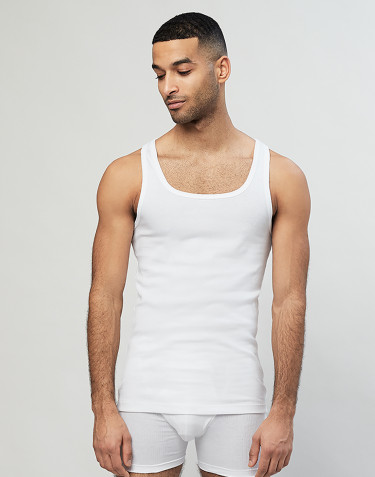 Men's ribbed cotton vest- White