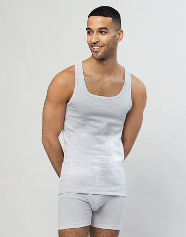 Men's ribbed cotton vest- Grey melange