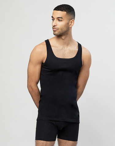 Men's ribbed cotton vest- Black