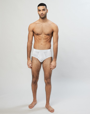 Men's classic cotton rib briefs- White