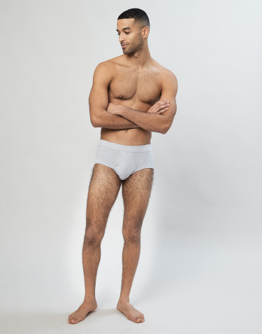 Men's classic cotton rib briefs - Grey melange