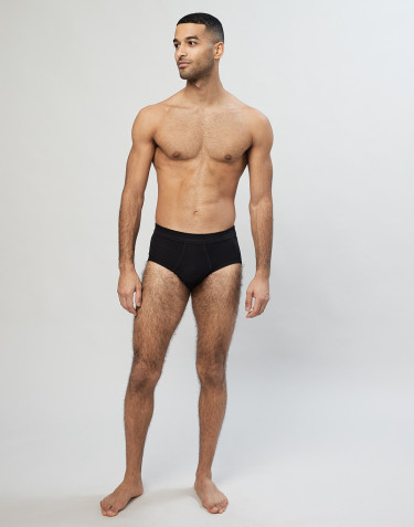 Men's classic cotton rib briefs - Black