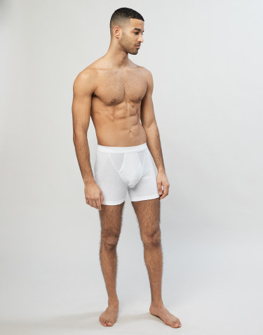 Men's cotton rib boxer shorts- White