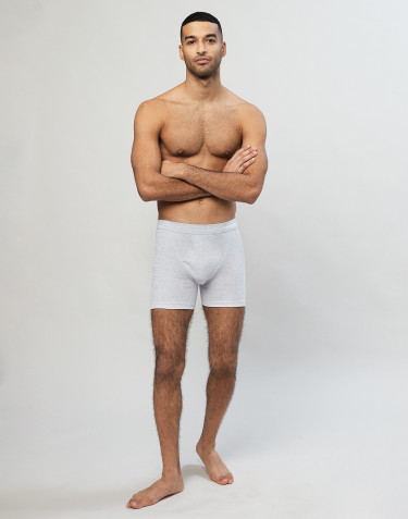Men's cotton rib boxer shorts- Grey melange