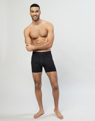 Men's cotton rib boxer shorts- Black