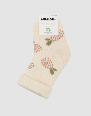 Baby patterned wool terry socks- nature