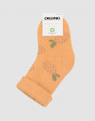 Baby patterned wool terry socks- yellow