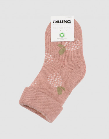 Baby patterned wool terry socks- powder