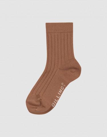 Children's ribbed merino wool socks- Caramel