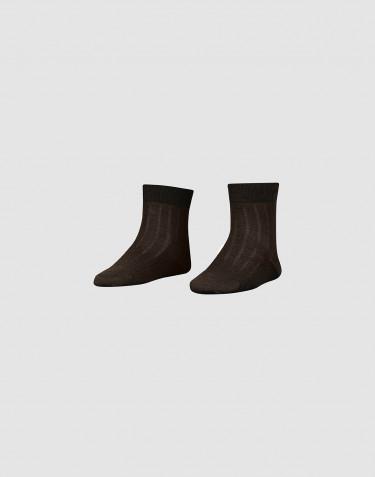 Children's ribbed merino wool socks- Dark chocolate