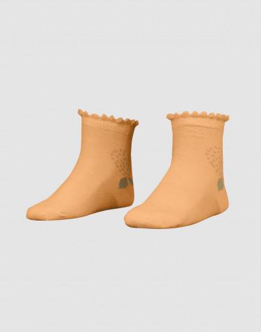 Children's floral organic merino wool socks- yellow