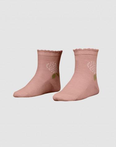 Children's floral merino wool socks- powder
