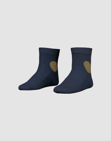 Children's patterned, organic merino wool socks- dark petrol