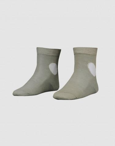 Children's patterned, organic merino wool socks- olive green
