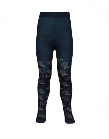 Children's patterned tights- dark petrol