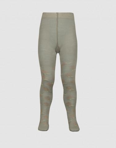 Children's organic merino wool tights- olive green