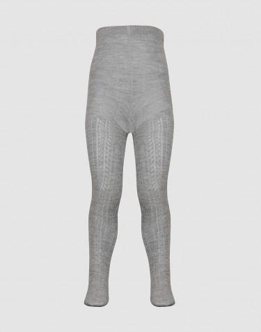 Children's hollow pattern tights- Grey melange