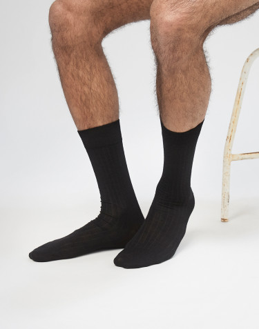 Men's ribbed merino wool socks- Black
