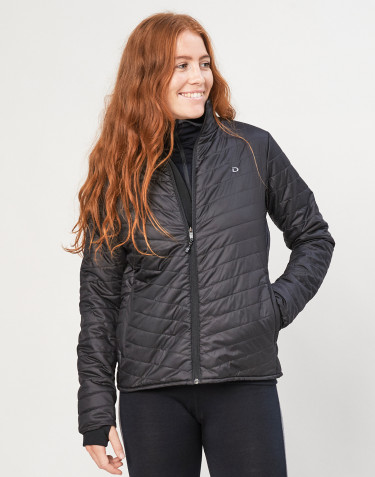 Women's recycled polyester/merino wool outdoor jacket- black