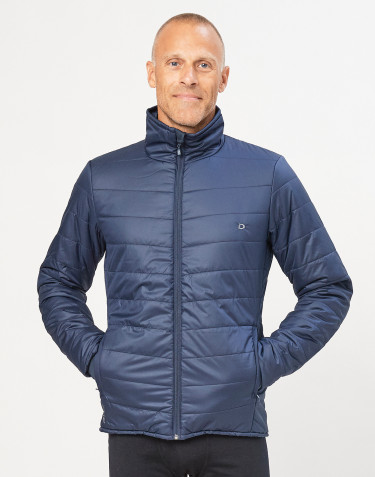 Men's recycled polyester/ merino wool outdoor jacket- dark blue