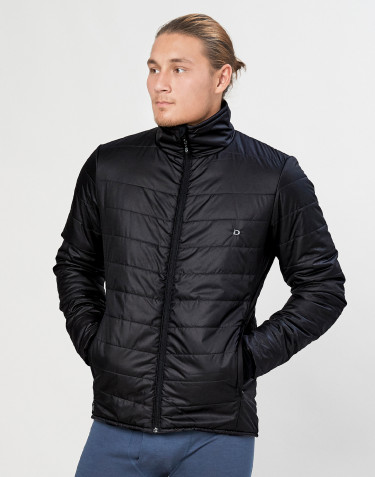 Men's recycled polyester/merino wool outdoor jacket- black