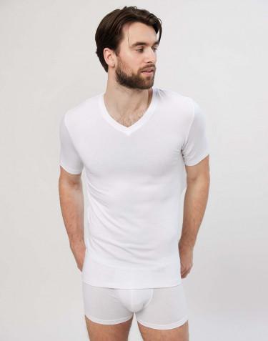 Men's v-neck cotton T-shirt- white