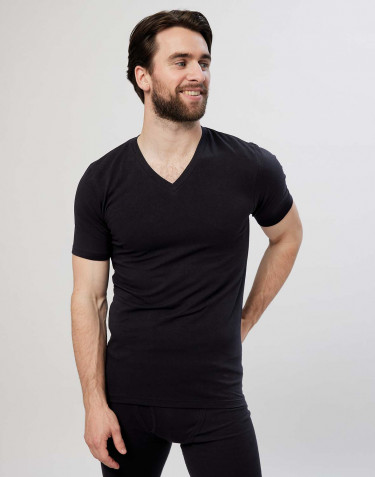 Men's v-neck cotton T-shirt- black