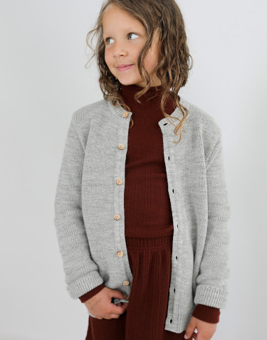 Children's knit long sleeve cardigan- Grey melange