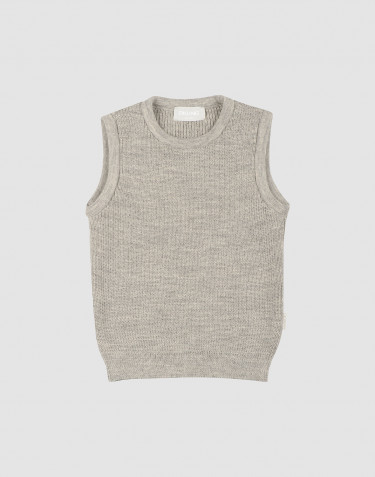 Children's knit sleeveless jumper- Grey melange