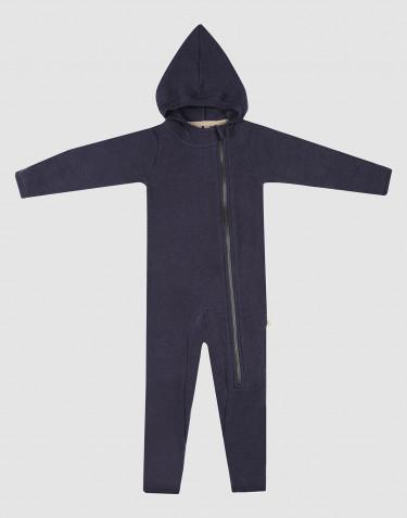 Baby merino wool fleece pramsuit- Blue