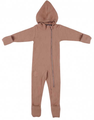 Baby merino wool fleece pramsuit- powder