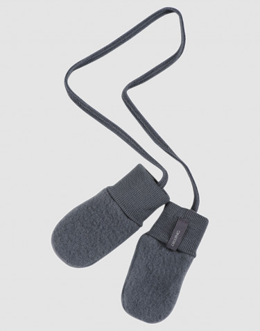 Baby wool fleece mittens- dark grey